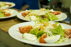Piatti del fattouch arabo tradizionale e del tabulé dell'insalata su un fondo rustico Fotografia Stock Libera da Diritti