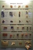 Piatti dell'argilla con lo scritto Mycenaean in museo di Micene Immagini Stock