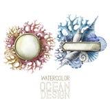 Piatti di metallo dell'acquerello con progettazione dell'oceano illustrazione vettoriale