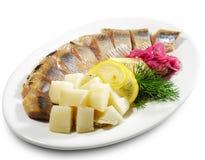 Piatti di pesci freddi - Kipper con la patata Immagine Stock Libera da Diritti