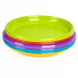 Piatti di plastica luminosi Fotografia Stock
