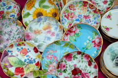 Piatti di porcellana variopinti Fotografia Stock