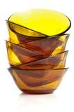Piatti di vetro della minestra impilati Fotografie Stock