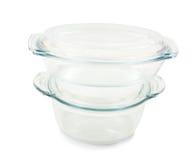 Piatti di vetro per il mini forno isolato sopra bianco Immagini Stock Libere da Diritti