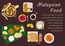 Piatti e dessert malesi di cucina Fotografia Stock Libera da Diritti