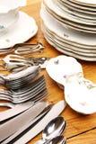 Piatti ed insieme della coltelleria Fotografia Stock