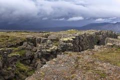 Piatti euroasiatici e nordamericani, Islanda, vicino a Pingvellir Immagine Stock