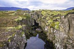 Piatti euroasiatici e nordamericani, Islanda, vicino a Pingvellir Fotografia Stock Libera da Diritti