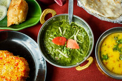 Piatti indiani Riso, dal, paneer di Palak, focaccia fotografia stock libera da diritti