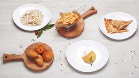 Piatti laterali delle patate, del pane e della pasta Immagini Stock Libere da Diritti