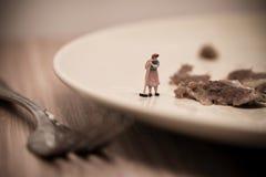 Piatti miniatura di lavaggio della cameriera Macro foto Immagine Stock