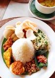 Piatti misti del riso di Singapore fotografie stock libere da diritti