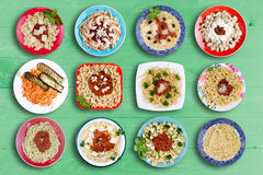 Piatti multipli della pasta per ogni appetito Fotografia Stock Libera da Diritti