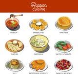 Piatti tradizionali dell'alimento di cucina russa Fotografie Stock Libere da Diritti