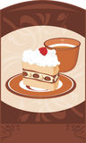Piattino con la tazza di caffè e del dolce sull'ornamentale  Fotografia Stock