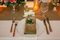 Piatto alla tavola di nozze rustica Fotografia Stock