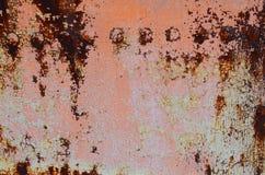 Piatto arrugginito del ferro con i ribattini fotografia stock libera da diritti
