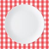 Piatto ceramico di bianco del cerchio Fotografia Stock