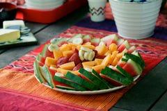Piatto Colourful della frutta di estate Fotografie Stock Libere da Diritti