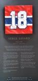 Piatto commemorativo 18 di Serge The Senator Savard Immagini Stock