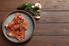 Piatto con bacon fritto fotografia stock libera da diritti