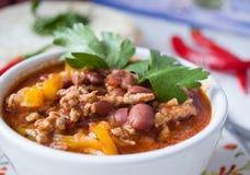 Piatto con Chili Con Carne, primo piano immagini stock libere da diritti