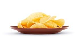Piatto con i chip Fotografia Stock