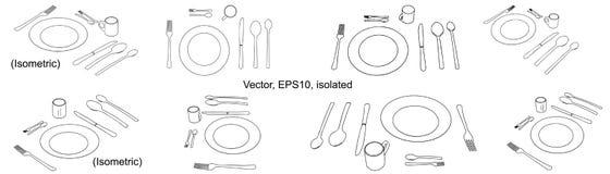 Piatto con il cucchiaio, il coltello, la forchetta, il cucchiaino e la tazza Icona delle stoviglie, segno isolato Vettore, isolat royalty illustrazione gratis