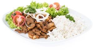 Piatto con il kebab e riso su bianco fotografia stock