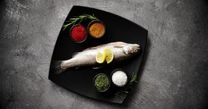 Piatto con il pesce e le spezie archivi video