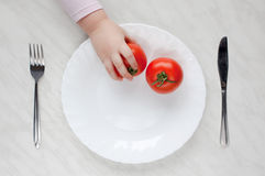 Piatto con il pomodoro Fotografia Stock