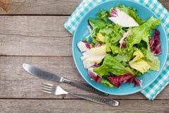 Piatto con insalata, il coltello e la forcella freschi Stia l'alimento a dieta Immagine Stock