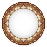 Piatto con l'ornamento marrone Fotografia Stock