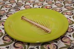 Piatto con l'osso di pesce Fotografia Stock Libera da Diritti