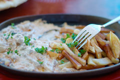 Piatto con la patata e la carne fritte Fotografia Stock Libera da Diritti