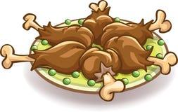 Piatto con le coscie di pollo Immagini Stock Libere da Diritti