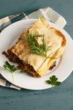 Piatto con le lasagne al forno Fotografia Stock