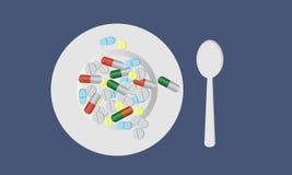 Piatto con le pillole illustrazione di stock