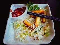 Piatto con le verdure, la salsa al pomodoro ed i bastoncini Fotografia Stock