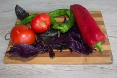 Piatto con le verdure sulla tavola, fondo vago della cucina Backgro del peperone dolce, basilico e pomodoro verdi e rossi Fotografie Stock