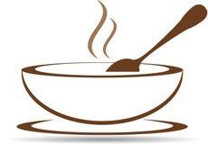 Piatto con minestra calda nel vettore Fotografie Stock
