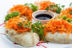 Piatto coreano della carne delle carote con salsa Fotografia Stock Libera da Diritti