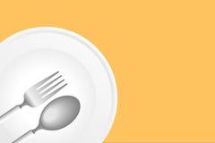 Piatto, cucchiaio e forchetta Fotografia Stock Libera da Diritti
