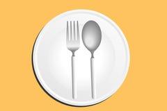 Piatto, cucchiaio e forchetta Immagine Stock Libera da Diritti
