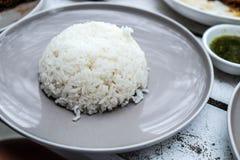 Piatto cucinato di grey di servire del riso fotografia stock libera da diritti
