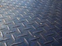 Piatto d'acciaio del controllore del vecchio ferro blu sporco arrugginito alto vicino di prospettiva immagine stock