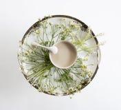 Piatto d'annata e fiori Vista ambientale Disposizione piana, vista superiore Fotografia Stock Libera da Diritti