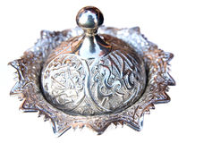 Piatto d'argento della ciotola Immagini Stock