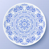 Piatto decorativo blu dell'ornamento floreale di vettore Immagine Stock