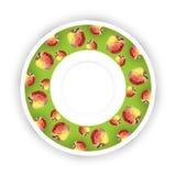 Piatto decorativo con il confine modellato delle mele, vista superiore Immagini Stock